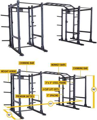 Commercial Extended Double Power Rack Package SPR1000DBBACK